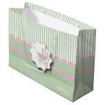Baby Pink and Green Buggy - Baby Girl Shower Large Gift Bag