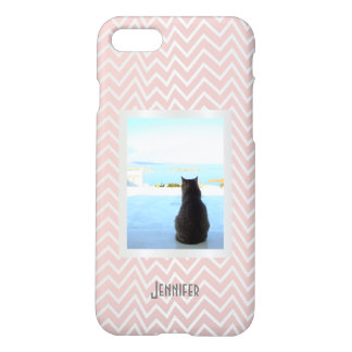 Baby pink and silver zigzag stripes photo monogram iPhone 8/7 case