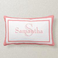 Baby Pink and White Monogram Name Keepsake Pillow