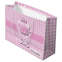 Baby Pink and White Plaid Baby Elephant Large Gift Bag