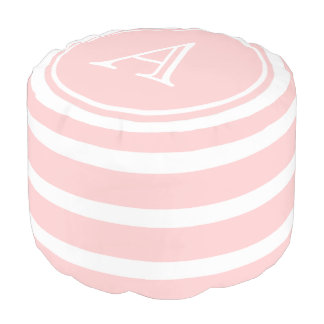 Baby Pink and White Stripe Monogram Pouf
