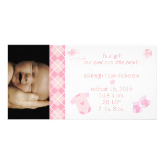 Baby Pink Argyle - It s A Girl -Our Precious Customized Photo Card