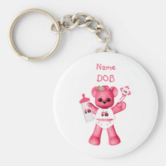 Baby Pink Bear and Pink Tractor Keychain