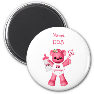 Baby Pink Bear and Pink Tractor Magnet