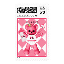 Baby Pink Bear and Pink Tractor Postage