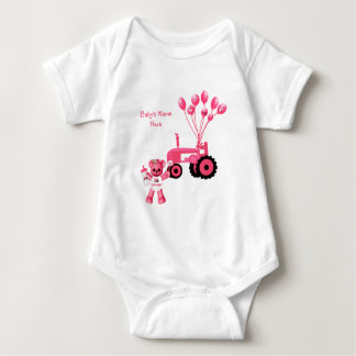 Baby Pink Bear and Pink Tractor T-Shirt