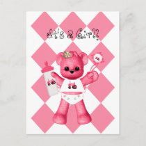 Baby Pink Bear and Tractor Postcard