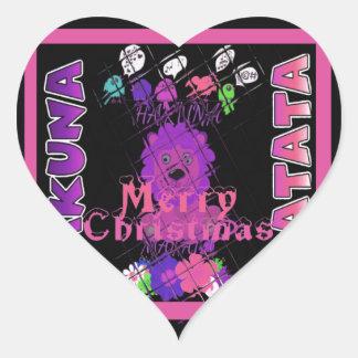 Baby pink Beautiful Merry Christmas Hakuna Matata Heart Sticker