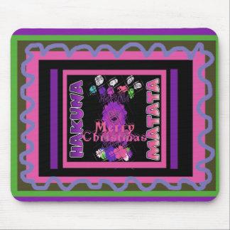 Baby pink Beautiful Merry Christmas Hakuna Matata Mouse Pad