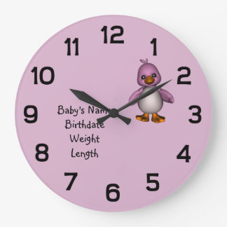 Baby Pink Bird with Baby's Name Personalized Large Clock