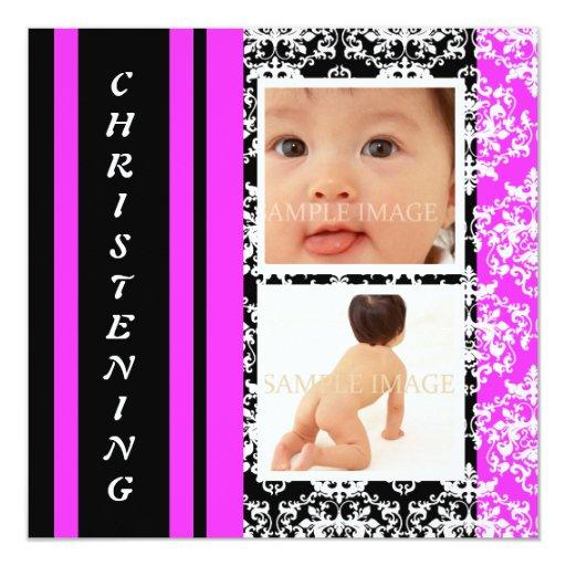 Baby pink black damask girl card