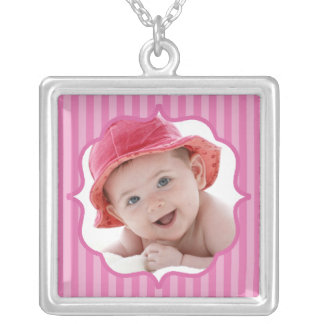 Baby Pink Boutique Striped Baby Photo Silver Plated Necklace