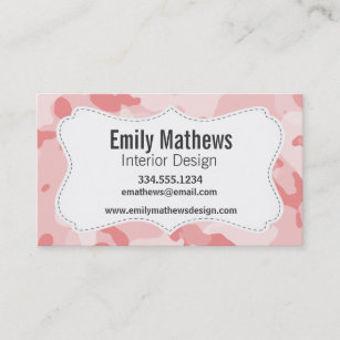 Camo business cards zazzle baby pink camo camouflage business card colourmoves