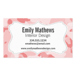 Baby Pink Camo; Camouflage Business Card