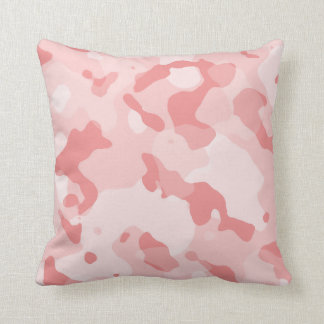 Baby Pink Camo; Camouflage Throw Pillow