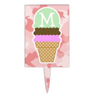 Baby Pink Camo; Ice Cream Cone Cake Topper