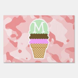 Baby Pink Camo; Ice Cream Cone Lawn Sign