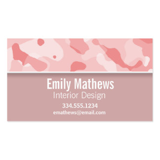 Baby Pink Camo; Personalized Business Card