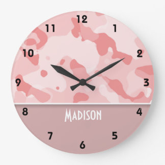 Baby Pink Camo; Personalized Wall Clock