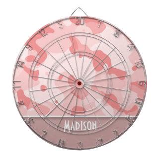 Baby Pink Camo; Personalized Dartboard With Darts
