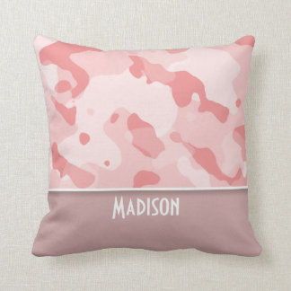 Baby Pink Camo; Personalized Throw Pillow