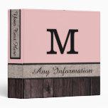 Baby pink Color Rustic Look Wood Monogram 3 Ring Binder
