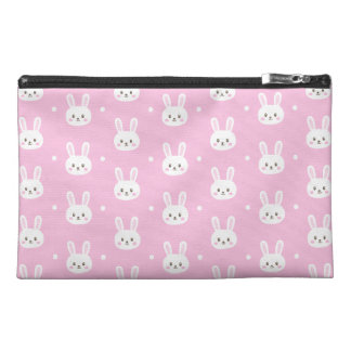 Baby pink cute fluffy cartoon bunny pattern travel accessory bag
