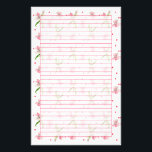"Baby Pink Dianthus Watercolor Flowers Lined Stationery<br><div class=""desc"">Soft and pretty pink lined stationery paper decorated with a framed border pattern of pink dianthus flowers and green leaves painted in watercolor.</div>"