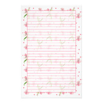 Baby Pink Dianthus Watercolor Flowers Lined Stationery