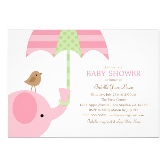 baby pink elephant baby shower invite zazzle