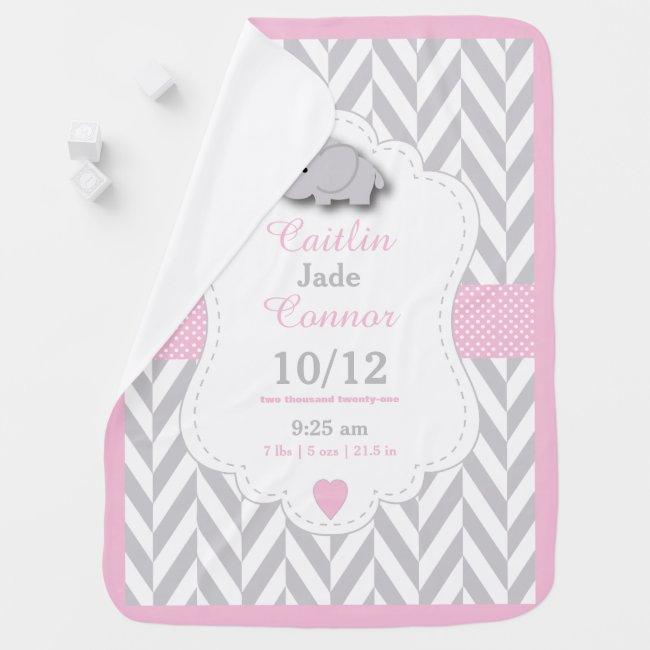 Baby Pink Elephant Birth Keepsake Design Stroller Blanket
