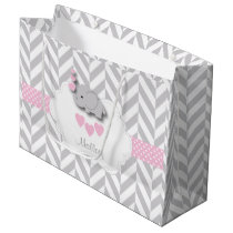 Baby Pink Elephant Design - Baby Girl Shower Large Gift Bag