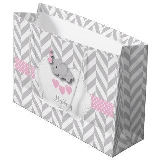 Baby Pink Elephant Design - Baby Girl Shower Large Gift Bag