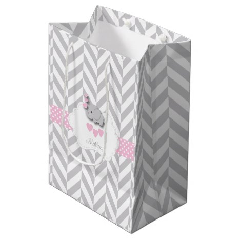 Baby Pink Elephant Design - Baby Girl Shower Medium Gift Bag