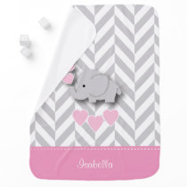 Baby Pink Elephant Design Swaddle Blanket
