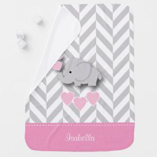 Baby Pink Elephant Design Swaddle Blanket
