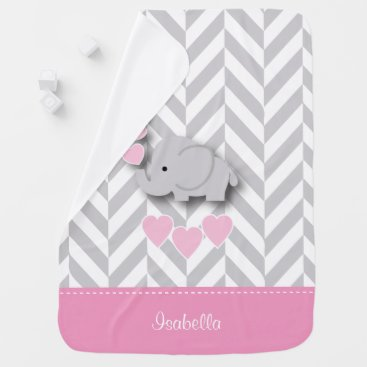 Toddler & Baby themed Baby Pink Elephant Design Swaddle Blanket