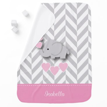 Valentines Themed Baby Pink Elephant Design Swaddle Blanket