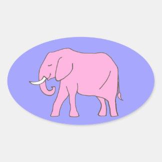 Baby Pink Elephant Walking Oval Sticker