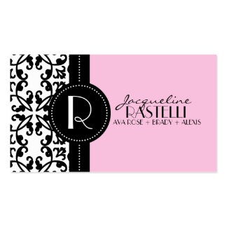 Baby Pink Estate Damask Mommy Calling Card / Business Card Template