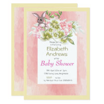 Baby Pink Floral Rabbit Shower Invitation