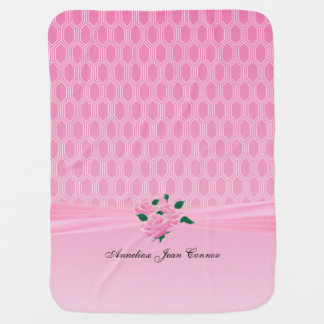 Baby Pink Geometric Designs with Pink Roses Stroller Blanket