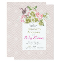 Baby Pink Geometric Rabbit Shower Invitation