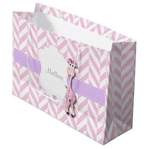 Baby Pink Giraffe - Baby Girl Shower Large Gift Bag