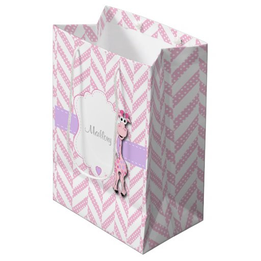 Baby Pink Giraffe - Baby Girl Shower Medium Gift Bag