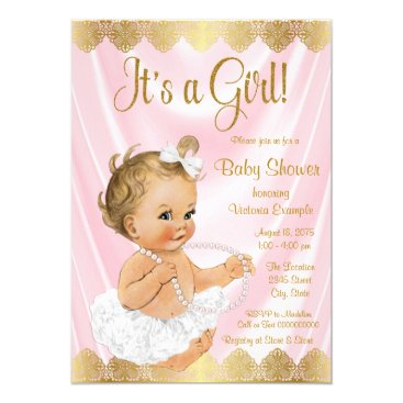 Baby Pink Gold Tutu Pearl Baby Shower Card