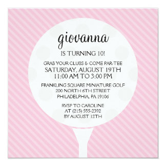 Baby Pink Golf Ball Miniature Golf Birthday Party Card