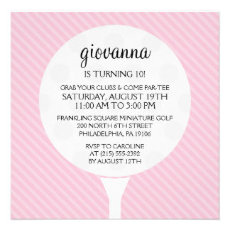 Baby Pink Golf Ball Miniature Golf Birthday Party Personalized Invitation