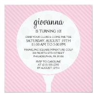Baby Pink Golf Ball Miniature Golf Birthday Party Invitation