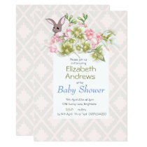 Baby Pink Grey  Floral Rabbit Shower Invitation